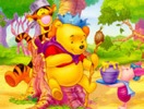 Pooh and Friends with Honey - Online Coloring Page